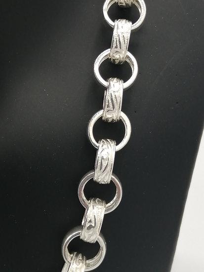 925 Silver Patterned & Plain Belcher Chain