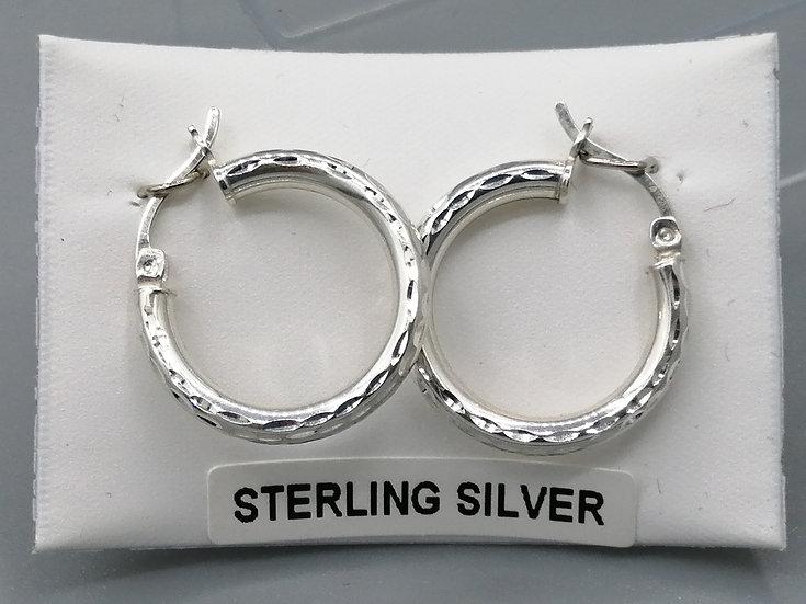 925 Silver D/C Round Hoop Earrings