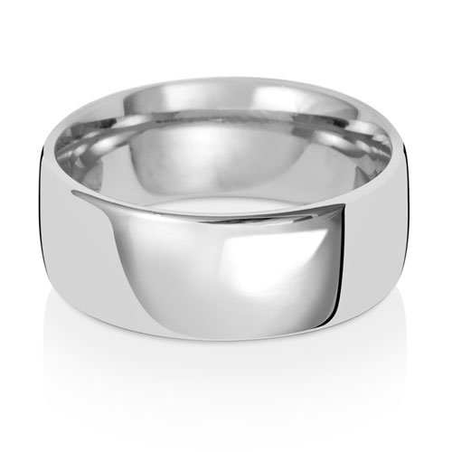 9ct White Gold 8mm Plain Soft Court Band - Special Order*