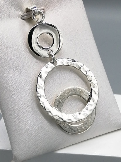 925 Silver Polished and Hammered Circles Pendant