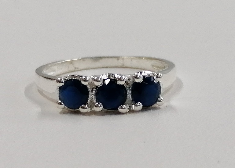 925 Silver Sapphire 3 Stone Solitaire Ring