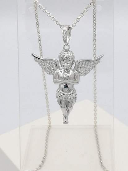 925 Silver CZ Iced Praying Angel Pendant