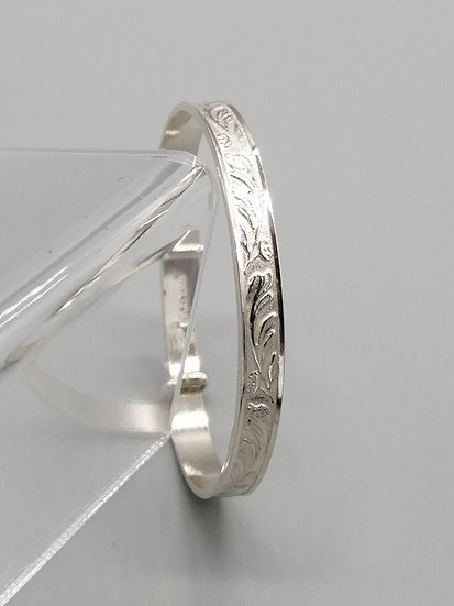 925 Silver Floral Embossed Baby Bangle