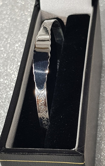 925 Sterling Silver Floral Fancy ID Bangle