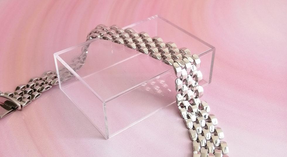925 Silver Pyramid Brick Bracelet