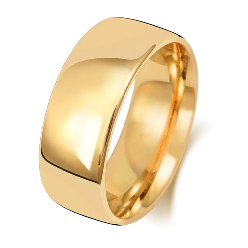 9ct Gold 8mm Plain Soft Court Band - Special Order*