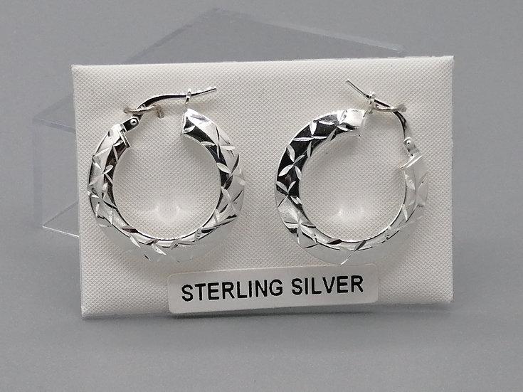 925 Silver D/C Wide Hoop Earrings
