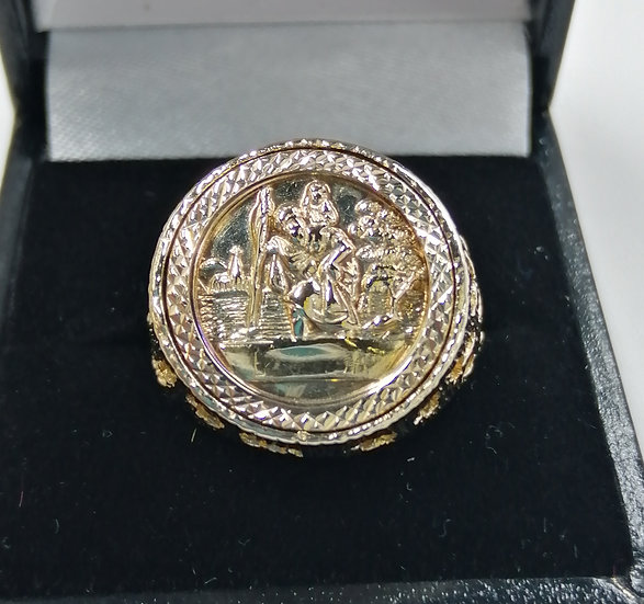 9ct Gold St Christopher Mounted Ring