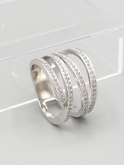 Silver CZ Wave Ring