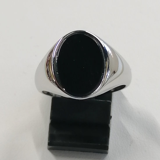 925 Silver Flat Top Onyx Ring