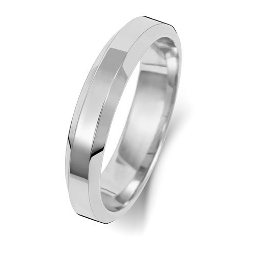 9ct White Gold 4mm Flat Tapered Soft Court Band with - Special Order*