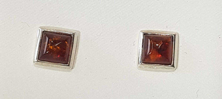 925 Sterling Silver Cognac Amber Square Earrings
