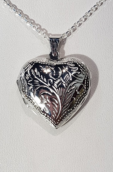 925 Silver Heart Engraved Double Sided Locket