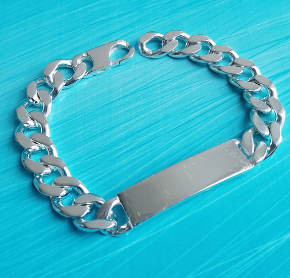 925 Silver Integrated Curb ID Bracelet