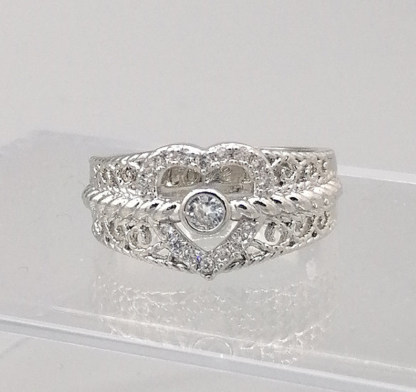 Silver CZ 'I Love You' Heart Ring