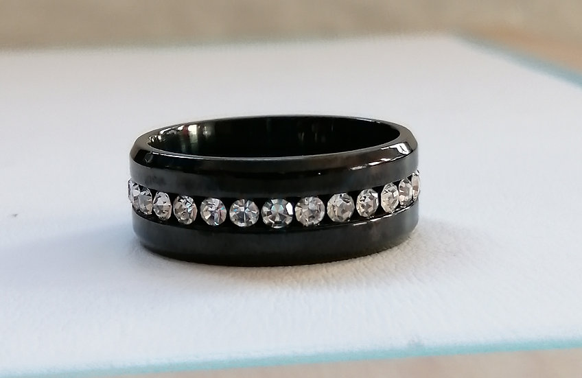 8mm Black & White CZ Stainless Steel Band Ring