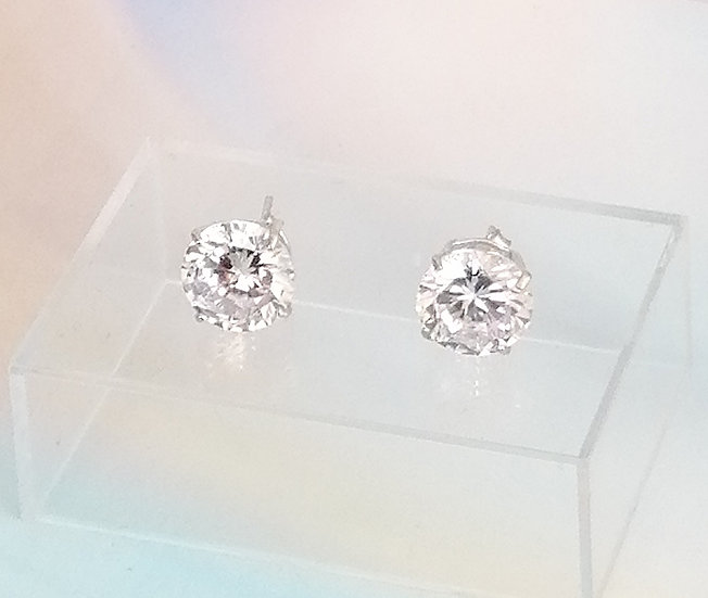 925 Silver CZ Round Earrings