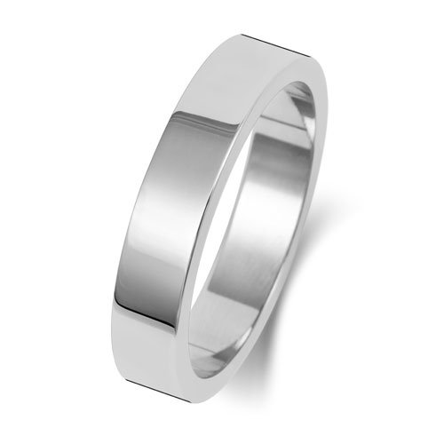 9ct White Gold 4mm Flat Finish Band - Special Order*