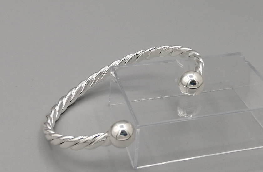 925 Silver Twisted Torque Bangle