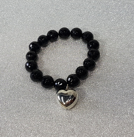 Black Crystal Bead Bracelet with Silver Heart
