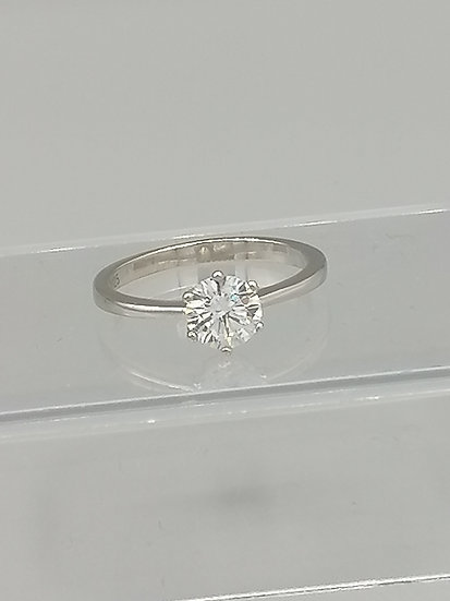 Single CZ 6 Claw Solitaire Ring