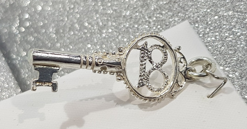 925 Sterling Silver Special 18th Key Pendant