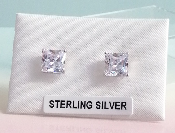 925 Silver CZ Square Earrings