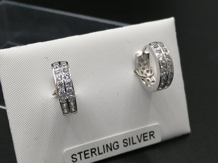 925 Silver CZ 2 Row Huggie Earrings