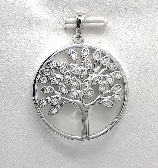 925 Silver CZ Tree of Life in Circle Pendant