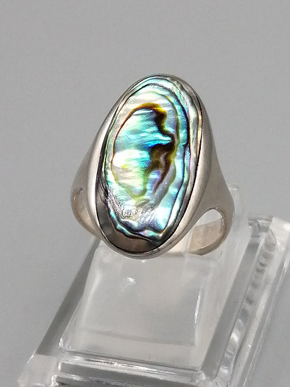 925 Silver Abalone Shell Oval Dome Ring