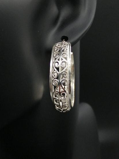 925 Silver Filigree Hoop Earrings