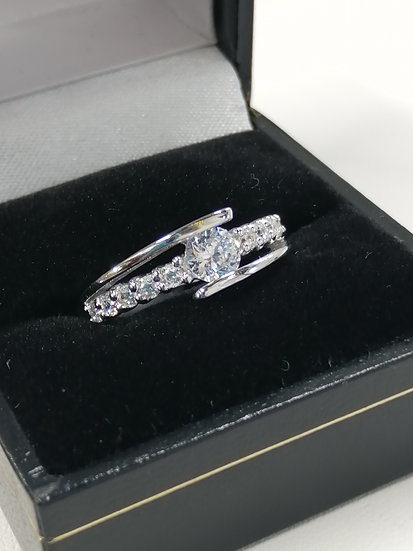 925 Silver CZ Crossover Wave Ring