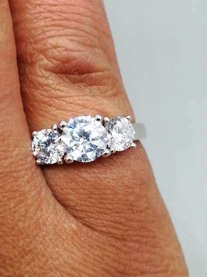 925 Silver CZ 3 Stone Straight Ring