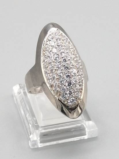 925 Silver CZ Iced Dome Ring