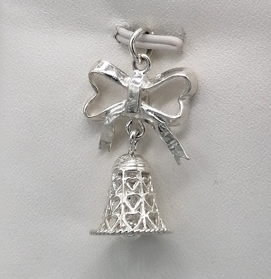 925 Silver Filigree Bell with Bow Charm