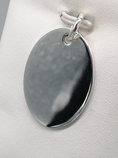 925 Silver Oval Tag Pendant