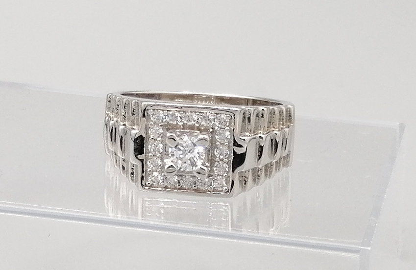 925 Silver CZ Iced Centre Stone Steps Ring