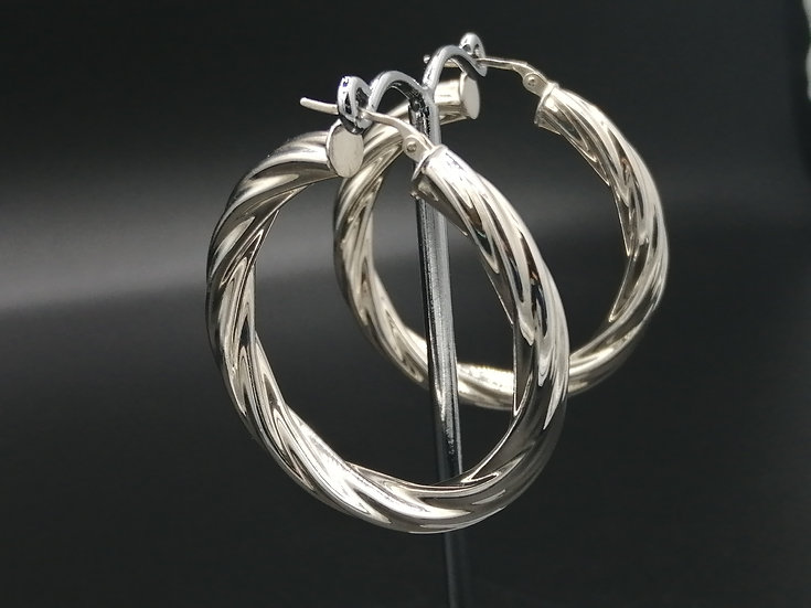 925 Silver Cable Hoop Earrings