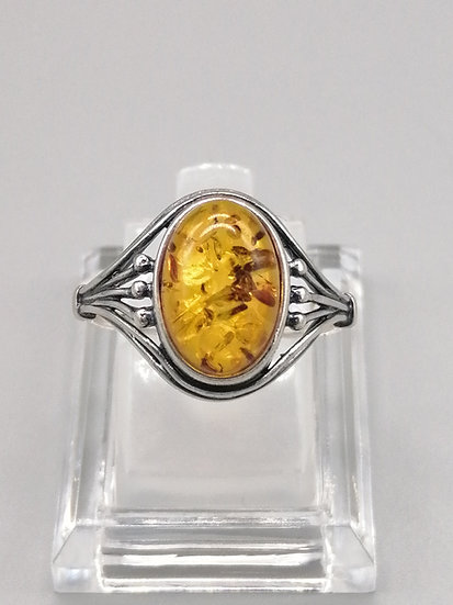 925 Silver Oval Dome Baltic Amber Ring