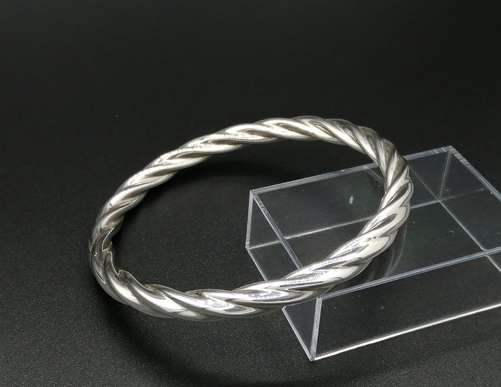 925 Silver Chunky Cable Twist Bangle