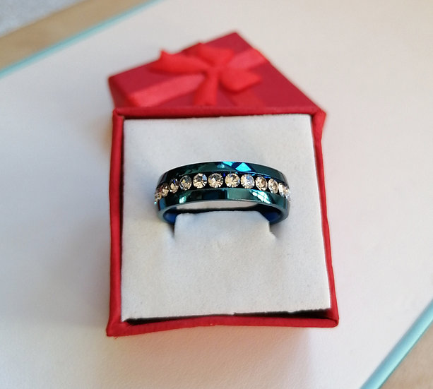 6mm White CZ & Blue Stainless Steel Band Ring