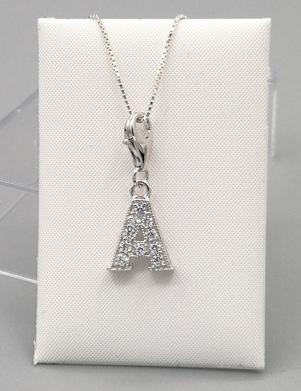 925 Silver Iced CZ Initial 'A'