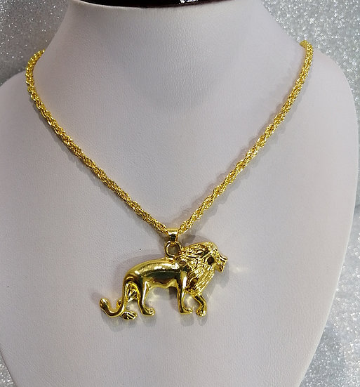 18K Gold Lion Pendant & Chain