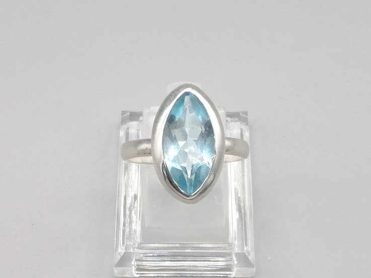 925 Silver Marquise Blue Topaz Ring