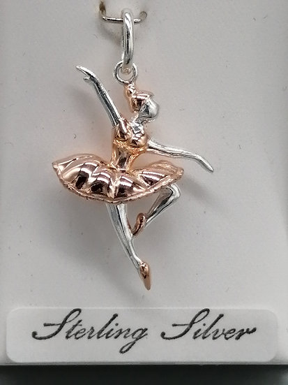 925 Silver Ballerina with Rose Gold Dress Charm