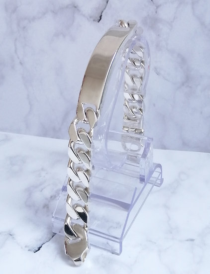 925 Silver Square Curb ID Bracelet