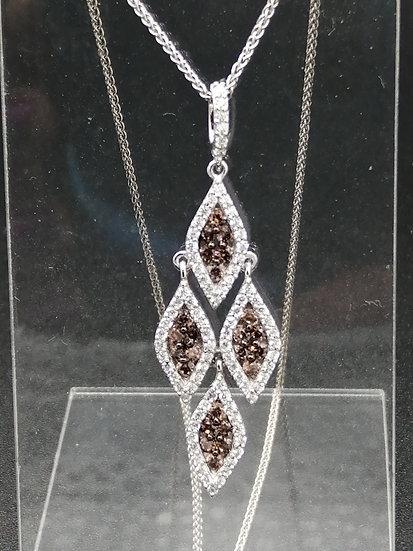 925 Silver White & Brown CZ Fancy Pendant & Chain