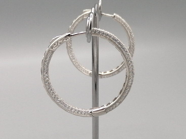 925 Silver CZ Iced Hoop Earrings