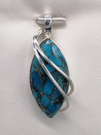 925 Silver Turquoise Long Wrap Over Pendant