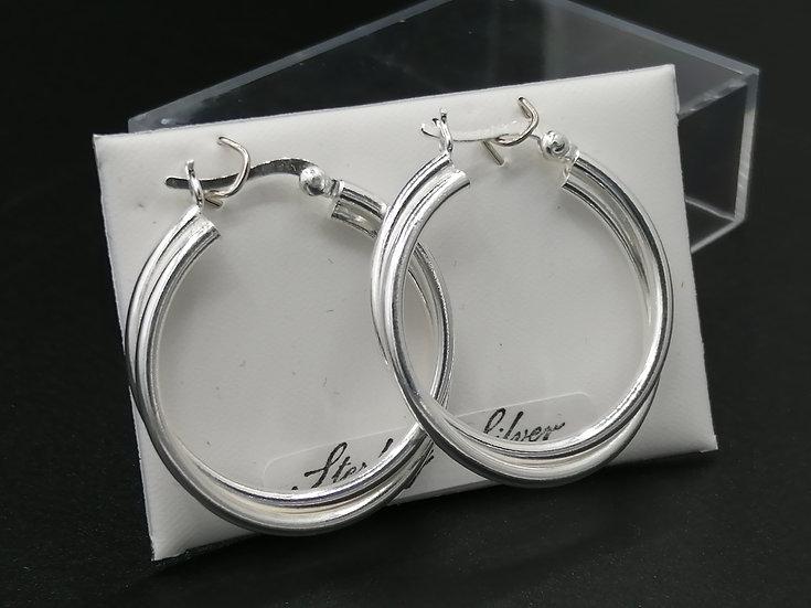 925 Silver Double Hoop Earrings